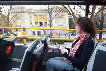 Tourist on bus in Spain